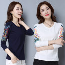 T-shirt Milky white, emerald green, navy S,M,L,XL,2XL Spring of 2019 Long sleeves Crew neck Self cultivation Regular routine commute cotton 71% (inclusive) - 85% (inclusive) Korean version science fiction Geometric pattern