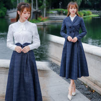 skirt Spring 2021 S,M,L,XL,2XL Navy Blue longuette Retro A-line skirt lattice Type A 71% (inclusive) - 80% (inclusive) other Pocket, Ruffle