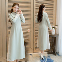 Dress Autumn 2020 Light green M,L,XL,2XL longuette singleton  Long sleeves commute stand collar middle-waisted Solid color Socket A-line skirt routine 25-29 years old Type A Munan Retro Button other other