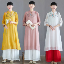Dress Summer 2020 3605 white pants, 3605 red pants, 3606 leather pink dress, 3606 white dress, 3606 yellow dress M,L,XL,2XL Two piece set three quarter sleeve commute stand collar Loose waist Solid color A button routine Type A ethnic style Pocket, embroidery other cotton