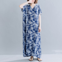 Dress Summer 2020 Blue flower Average size longuette singleton  Short sleeve commute V-neck Loose waist Decor Socket other routine Others 30-34 years old Type H literature 91% (inclusive) - 95% (inclusive) other cotton