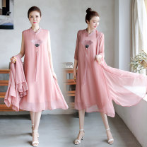 Dress Summer of 2019 White, pink, light green L,XL,2XL,3XL longuette Two piece set three quarter sleeve commute stand collar Loose waist Abstract pattern A-line skirt routine Others Type A Big size Retro 3051# Chiffon