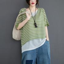 Wool knitwear Summer 2021 Big size average elbow sleeve Fake two pieces Socket hemp 71% (inclusive) - 80% (inclusive) Super short routine commute easy V-neck routine stripe Korean version
