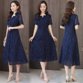 Dress Summer 2020 blue M,L,XL,2XL,3XL,4XL longuette singleton  Short sleeve commute V-neck Loose waist Solid color Single breasted A-line skirt routine Others 30-34 years old Type A Korean version Embroidery 81% (inclusive) - 90% (inclusive) other cotton