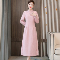 Dress Winter 2020 Pink M,L,XL,2XL,3XL longuette singleton  Long sleeves commute stand collar Solid color Socket A-line skirt routine Type A polyester fiber