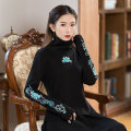 T-shirt black M,L,XL,2XL Spring 2021 Long sleeves High collar Self cultivation Regular routine commute cotton 86% (inclusive) -95% (inclusive) 25-29 years old ethnic style originality Plants and flowers Embroidery
