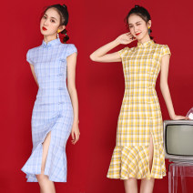 cheongsam Summer 2020 S,M,L,XL Lemon yellow, light blue 199 in stock