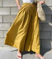 Casual pants Light yellow, off white, green, black Average size Spring 2021 Cropped Trousers Wide leg pants High waist commute routine 18-24 years old 8028# hemp cotton