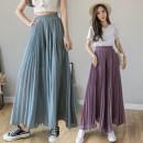 Casual pants Purple, blue, black S,M,L,XL Summer 2021 Ninth pants Wide leg pants High waist commute ultrathin 25-29 years old 908# Korean version fold
