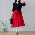Dress Spring 2021 Red and black M,L,XL,2XL Miniskirt Long sleeves commute V-neck Loose waist Solid color Socket ethnic style Splicing 9689#