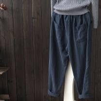 Casual pants Grey, Navy, Burgundy, black S,M,L,XL,2XL,3XL,4XL,5XL Summer 2021 Cropped Trousers Haren pants Versatile routine 816# Cotton blended fabric cotton