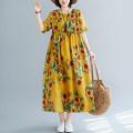 Dress Summer 2020 Sunflower with yellow background Average size longuette singleton  Sweet Crew neck Loose waist Chiffon Countryside
