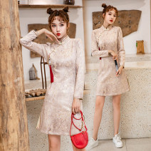 cheongsam Spring 2021 S,M,L,XL Kazidi plum Long sleeves Short cheongsam Retro Low slit daily Oblique lapel Solid color 18-25 years old Piping Deer skin