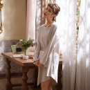 Nightdress Sleep right / Mrs. slim SH1786 160(M),165(L),170(XL) Simplicity Long sleeves pajamas Middle-skirt spring Solid color youth Crew neck cotton One piece More than 95% pure cotton 260g