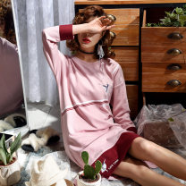 Nightdress Sleep right / Mrs. slim 160(M),165(L),170(XL),175(XXL) Simplicity Long sleeves pajamas Middle-skirt spring Solid color youth Crew neck cotton printing More than 95% pure cotton 280g