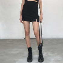 skirt Spring of 2019 S,M,L black Short skirt High waist A-line skirt Solid color Type A 71% (inclusive) - 80% (inclusive) Cashmere