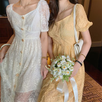 Dress Summer 2020 Milky white, orange XS,S,M,L Mid length dress singleton  Short sleeve commute other High waist Solid color Socket A-line skirt other Others 25-29 years old Type A Korean version Lace YTZ98223 31% (inclusive) - 50% (inclusive) other genuine leather
