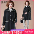 Middle aged and old women's wear Spring 2021 Black with base coat black without base coat L XL XXL XXXL fashion woolen coat easy Two piece set Solid color 40-49 years old Cardigan moderate square neck Medium length routine ZMT21A8515 Dromett pocket polyester 30% and below Single breasted