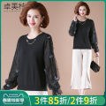 Middle aged and old women's wear Spring 2021 L XL XXL XXXL fashion T-shirt easy Two piece set Decor 40-49 years old Socket moderate Crew neck have cash less than that is registered in the accounts routine Dromett Hollowing out polyester Viscose (viscose) 50% polyester 27% polyamide (nylon) 23%