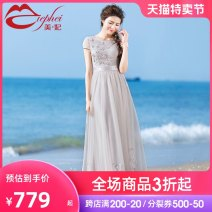 Dress Summer 2021 Light grey (spot) light grey (pre-sale within 15-30 days) S M L XL longuette singleton  Short sleeve commute One word collar middle-waisted Solid color Socket Big swing puff sleeve Others 25-29 years old Type X Miephei / Mei Feifei lady Three dimensional decorative gauze LQ6516-1