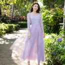 Dress Spring 2021 Ashy purple (spot) ashy purple (pre-sale 5-7 days, please contact customer service for pre-sale) S M L XL longuette singleton  three quarter sleeve commute V-neck middle-waisted Decor Socket Big swing routine Others 30-34 years old Type A Miephei / Mei Feifei Pleated lace LQ0331