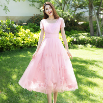 Dress Spring 2021 Aromatic alcohol powder (spot) aromatic alcohol powder (pre-sale for 7-15 days, please contact customer service for pre-sale) S M L XL Mid length dress singleton  Short sleeve commute other High waist Solid color Socket Big swing routine Others 30-34 years old Type A LQ0507-1 nylon