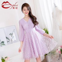 Dress Spring 2021 Lavender (in stock) S M L XL Short skirt singleton  three quarter sleeve Sweet V-neck middle-waisted Solid color Socket Big swing bishop sleeve Others 25-29 years old Type X Miephei / Mei Feifei Pleated lace LQ925631 More than 95% polyester fiber Polyester 100% princess