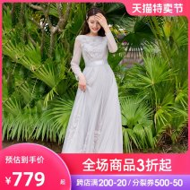 Dress Spring 2021 Light grey (spot) light grey (pre-sale 7-15 days, please contact customer service for pre-sale) S M L XL longuette singleton  Nine point sleeve commute One word collar middle-waisted Solid color Socket Big swing puff sleeve Others 30-34 years old Type A Miephei / Mei Feifei LQ6516-2
