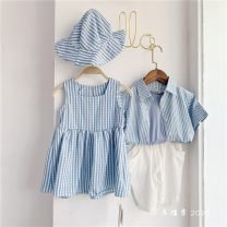 Dress Blue and white girl give hat, boy coat and trousers female Other / other 80cm,90cm,100cm,110cm,120cm Cotton 100% 18 months, 2 years old, 3 years old, 4 years old, 5 years old, 6 years old, 7 years old, 8 years old