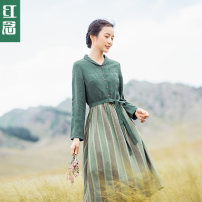 Dress Autumn of 2019 Light green - spot light green - pre sale 10 days XS S M L XL Mid length dress singleton  Long sleeves commute other middle-waisted stripe Single breasted A-line skirt shirt sleeve Others 30-34 years old Type X Hongnian literature L19B2856 More than 95% hemp Flax 100%