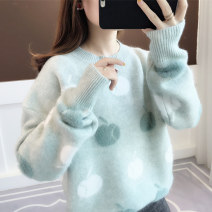 sweater Winter of 2019 Average size Blue bean green light green Long sleeves Socket singleton  Regular polyester fiber 31% (inclusive) - 50% (inclusive) Crew neck thickening commute routine other Straight cylinder Regular wool Keep warm and warm 18-24 years old Anzoveve az19856 thread