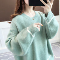 sweater Winter of 2019 Average size Yellow blue green Beige Long sleeves Socket singleton  Regular polyester fiber 31% (inclusive) - 50% (inclusive) Crew neck Regular commute routine Solid color Straight cylinder Regular wool Keep warm and warm 18-24 years old Anzoveve az19791 Splicing thread