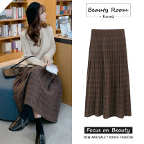 skirt Winter 2020 S,M,L,XL Coffee skirt, apricot sweater Mid length dress commute High waist Pleated skirt lattice Type A 18-24 years old Wool Other / other Korean version