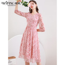 Dress Spring 2021 Red - pre sale S M L XL XXL longuette singleton  three quarter sleeve commute V-neck High waist Socket A-line skirt routine 30-34 years old WiFi / Weifeng lady Pleated button zipper print More than 95% Chiffon polyester fiber Polyester 100% Pure e-commerce (online only)