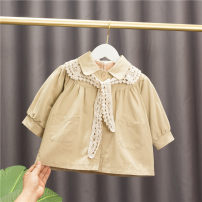 Windbreaker Khaki, pink 5 # (recommended height 73cm-80cm), 7 # (recommended height 85CM), 9 # (recommended height 90cm), 11 # (recommended height 100cm), 13 # (recommended height 110cm) Other / other female spring and autumn Korean version nothing Single breasted Medium length Solid color No belt