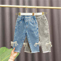 trousers Baobao elephant female 80 # (recommended height 73cm-80cm), 90 # (recommended height 85CM), 100 # (recommended height 90cm), 110 # (recommended height 100cm), 120 # (recommended height 110cm) Blue, gray spring and autumn trousers Korean version No model Jeans Leather belt middle-waisted