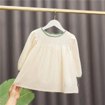 Dress white female Baobao elephant Cotton 95% polyurethane elastic fiber (spandex) 5% spring and autumn Korean version Long sleeves Solid color cotton A-line skirt Class A 12 months, 6 months, 9 months, 18 months, 2 years old, 3 years old, 4 years old, 5 years old