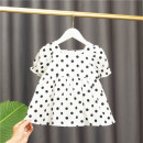 Dress white female Baobao elephant Cotton 95% polyester 5% summer Korean version Short sleeve Dot cotton A-line skirt Class A 12 months, 6 months, 9 months, 18 months, 2 years, 3 years, 4 years Chinese Mainland