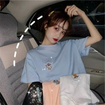 T-shirt 414 * white, 414 * black, 414 * shrimp pink, 414 * Blue M,L,XL,2XL Summer of 2019 Short sleeve Crew neck easy Regular routine commute polyester fiber 96% and above 18-24 years old Korean version Cartoon animation Eternal declaration Printing, embroidery