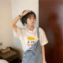 T-shirt M,L,XL,2XL Summer 2020 Short sleeve Crew neck easy Regular routine commute cotton 96% and above 18-24 years old Korean version Geometric pattern Immortal element printing