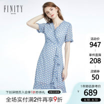Dress 30-34 years old FZ1TC8231L Middle-skirt Short sleeve singleton  commute V-neck middle-waisted Dot Condom More than 95% other routine polyester fiber Simplicity Other Polyester 100% Same model in shopping malls (both online and offline) Summer 2020 FINITY S M L XL XXL