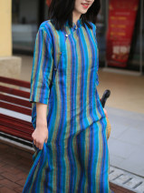 Dress Spring 2021 stripe M, L Mid length dress singleton  three quarter sleeve commute stand collar Loose waist stripe Socket Type H ethnic style More than 95% hemp