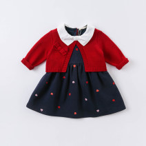 Dress Red, red, red rose female DAVE&BELLA 66cm,73cm,80cm,90cm,100cm,110cm,120cm,130cm Other 100% spring and autumn Europe and America Long sleeves other cotton Splicing style DBM14515 Class A Chinese Mainland Zhejiang Province Hangzhou