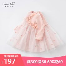 Dress Pink, [pre sale] female DAVE&BELLA 66cm,73cm,80cm,90cm,100cm,110cm,120cm,130cm Other 100% spring and autumn Europe and America Long sleeves Solid color cotton Pleats DBJ17133 Class A Chinese Mainland Zhejiang Province Hangzhou