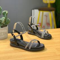 Sandals 35,36,37,38,39 059-2 black, 059-2 Beige Multi material splicing Other / other Barefoot Flat bottom Middle heel (3-5cm) Summer 2020 Flat buckle Superfine fiber