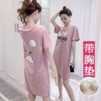 Nightdress Other / other Short sleeve Middle-skirt Cartoon Cartoon animation summer Crew neck Leisure home youth cotton printing Knitted cotton fabric M [recommended 80-100kg], l [recommended 100-115kg], XL [recommended 115-135kg], all styles have their own breast pads