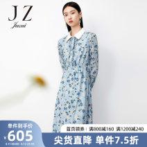 Dress Spring 2021 Flower light blue XS S M L XL 2XL 3XL 4XL Mid length dress singleton  Long sleeves commute 30-34 years old Type X Jiuzi lady JTBC50044 More than 95% other Other 100%