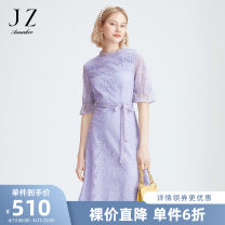 Dress Spring 2021 Zhangqing Pink Purple XS S M L XL 2XL 3XL 4XL Mid length dress singleton  Short sleeve commute stand collar 30-34 years old Type X Jiuzi lady JTBC50031 51% (inclusive) - 70% (inclusive) nylon Polyamide fiber (nylon) 64.6% cotton 26.6% viscose fiber (viscose) 8.8%