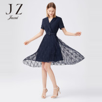 Dress Summer 2020 Navy  XS S M L XL 2XL 3XL 4XL Mid length dress singleton  Short sleeve commute tailored collar High waist Solid color Socket Pleated skirt routine Others 30-34 years old Type X Jiuzi lady Beaded lace More than 95% polyester fiber Polyester 100%