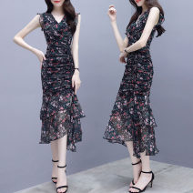 Dress Spring of 2019 Black background red flower butterfly deep blue flower light blue flower purple flower red flower rice noodles white background black spot S M L XL 2XL Mid length dress singleton  Sleeveless commute V-neck middle-waisted Decor Socket Ruffle Skirt other Others 25-29 years old lady